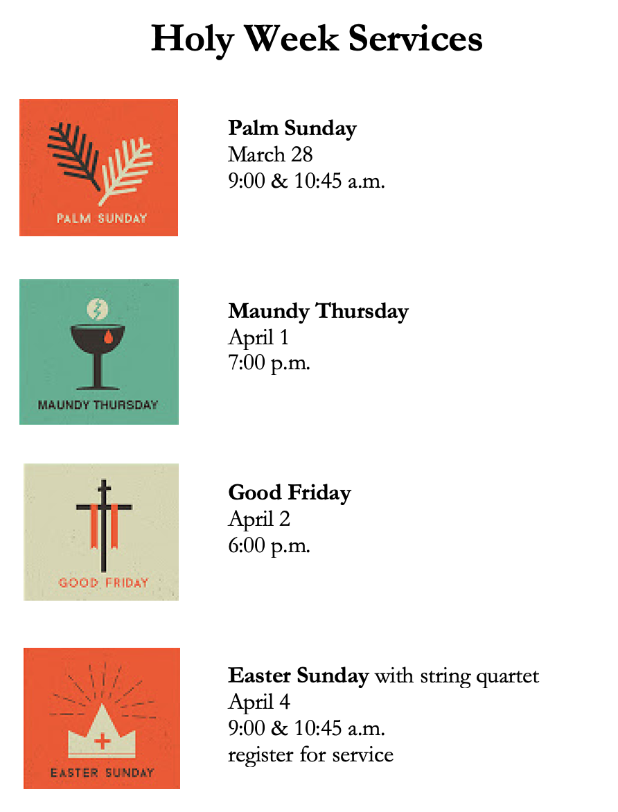 Holy Week Services 2021