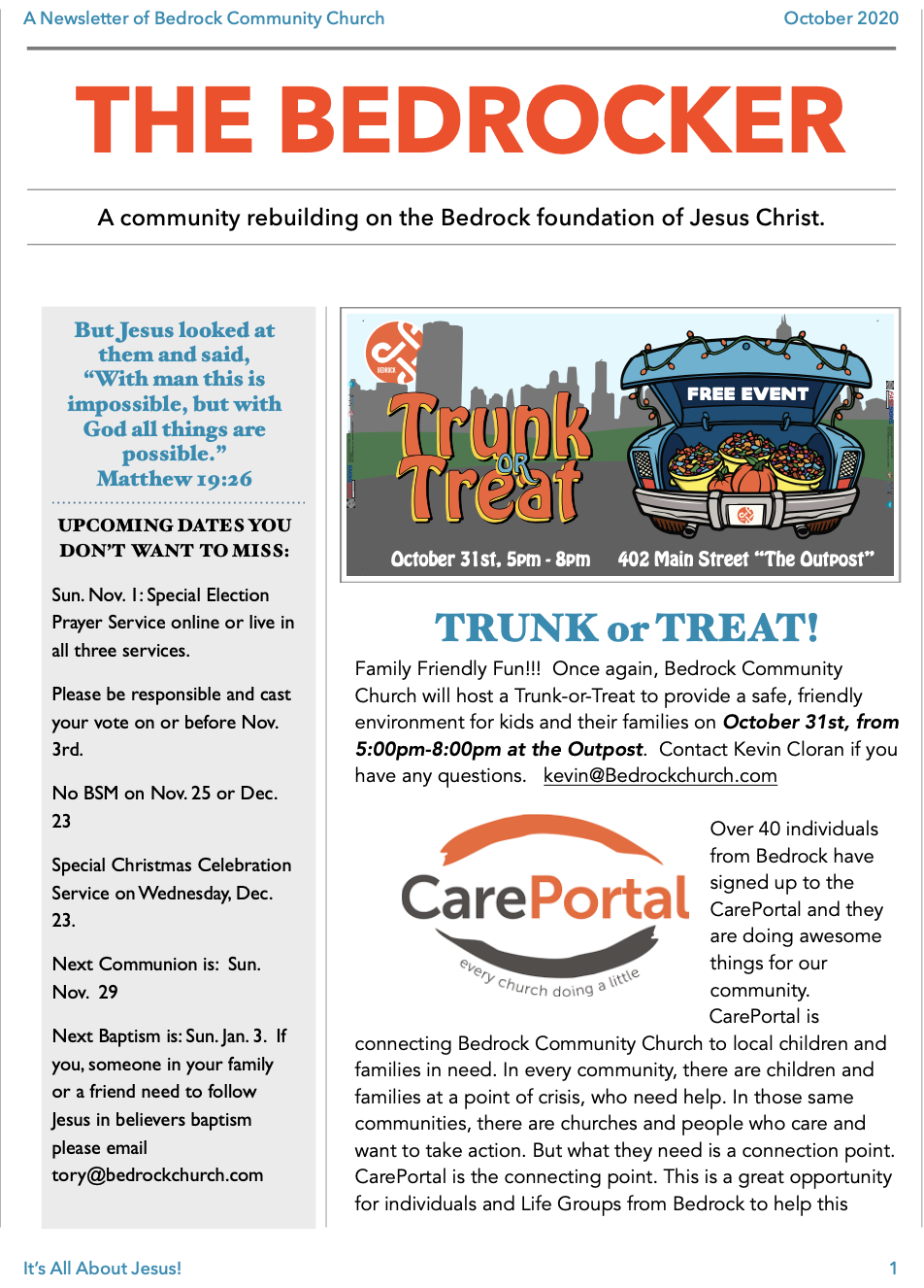 Newsletter Oct 2020 page 1