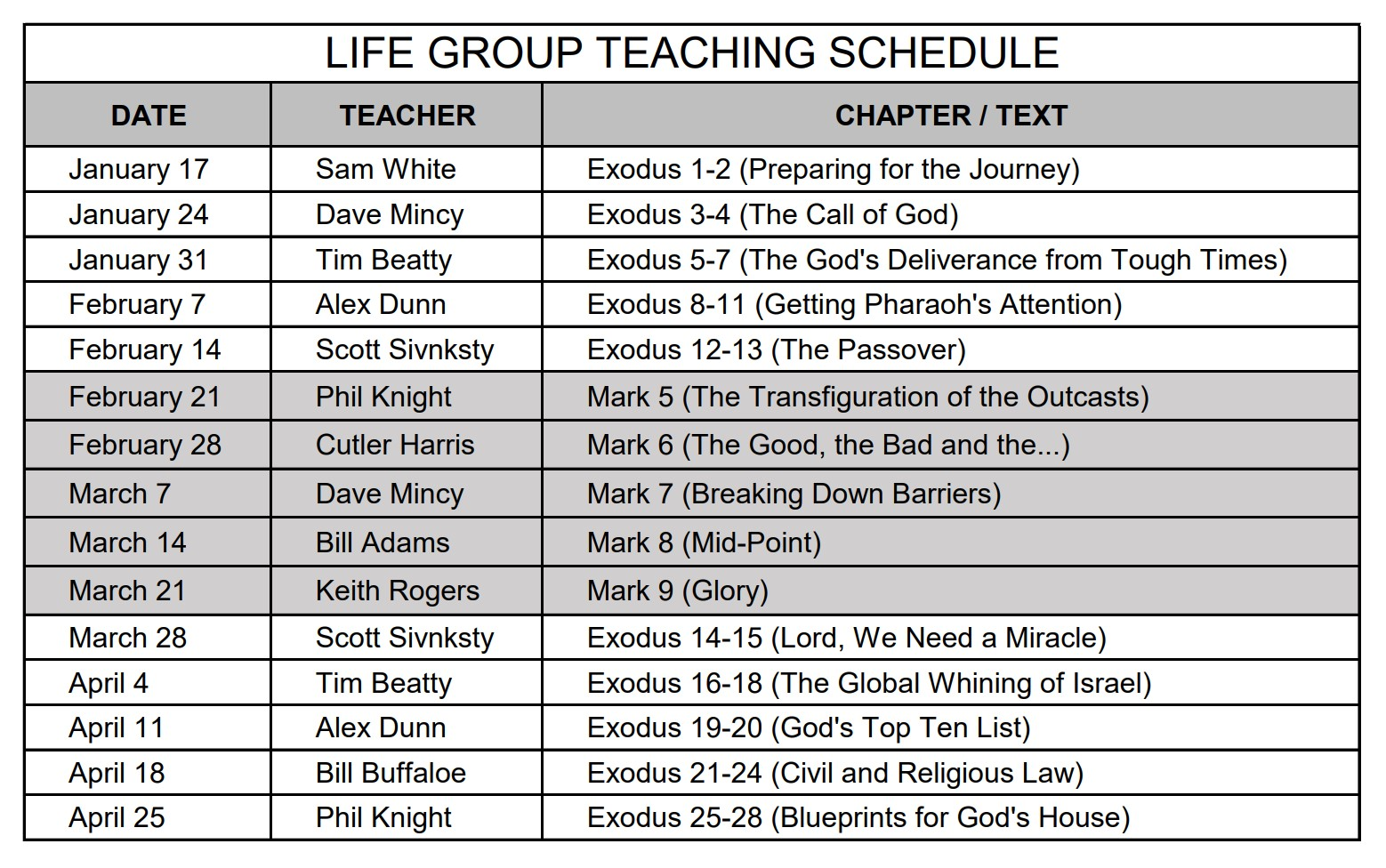 2021 Life Group Teaching Schedule_January-April