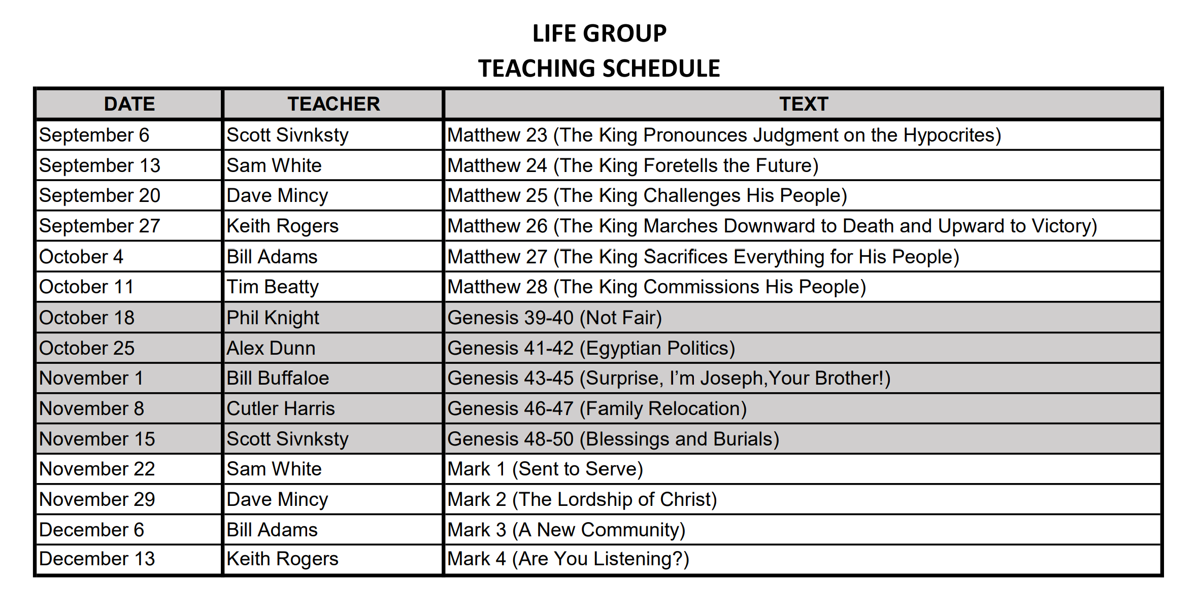 Life Group Teaching Schedule 2020.09-2020.12