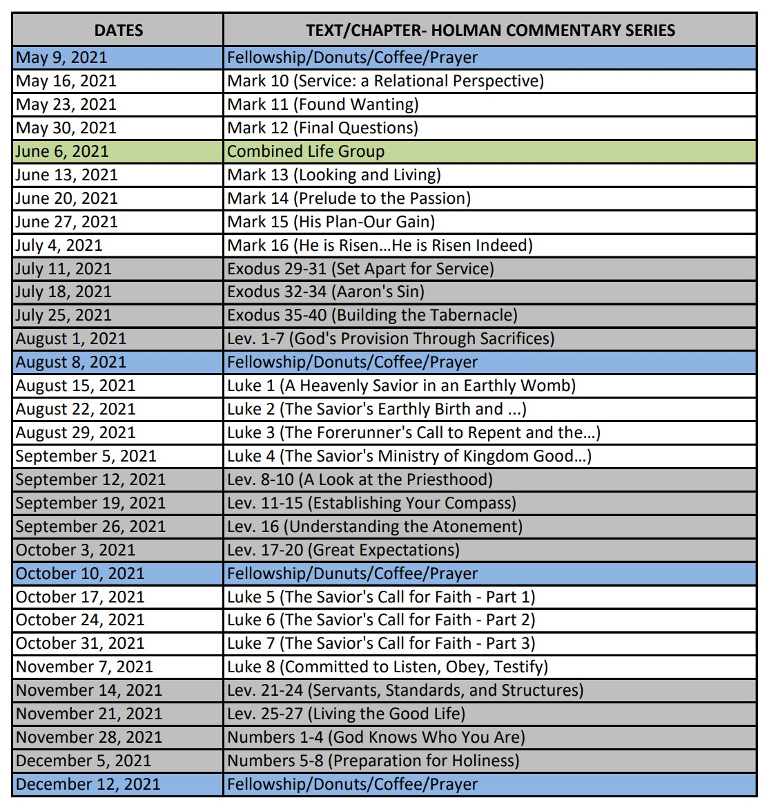 Life Groups Teaching Schedule 2021.05-12