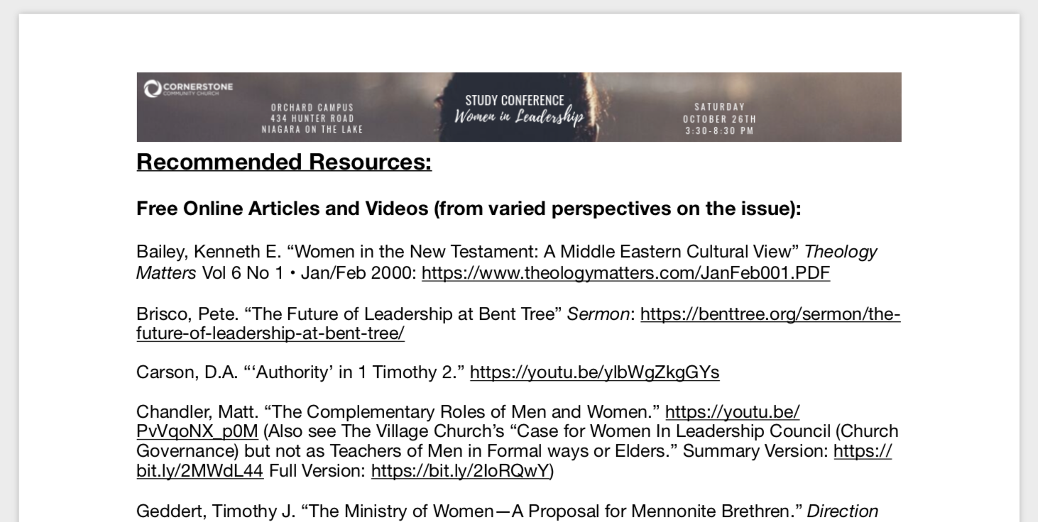 StudyConference_WomenInMinistryLeadership_ReccomendedReadingList__page_1_of_2_