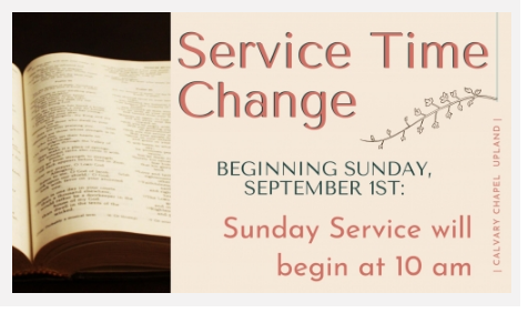 Service Time Change - Sept 1st