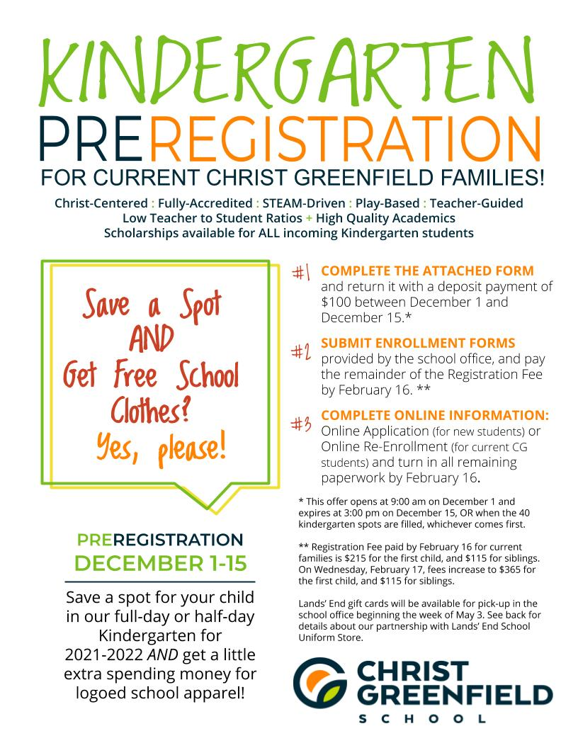 Kinder PreReg Preregistration flier 2020-2021-2022