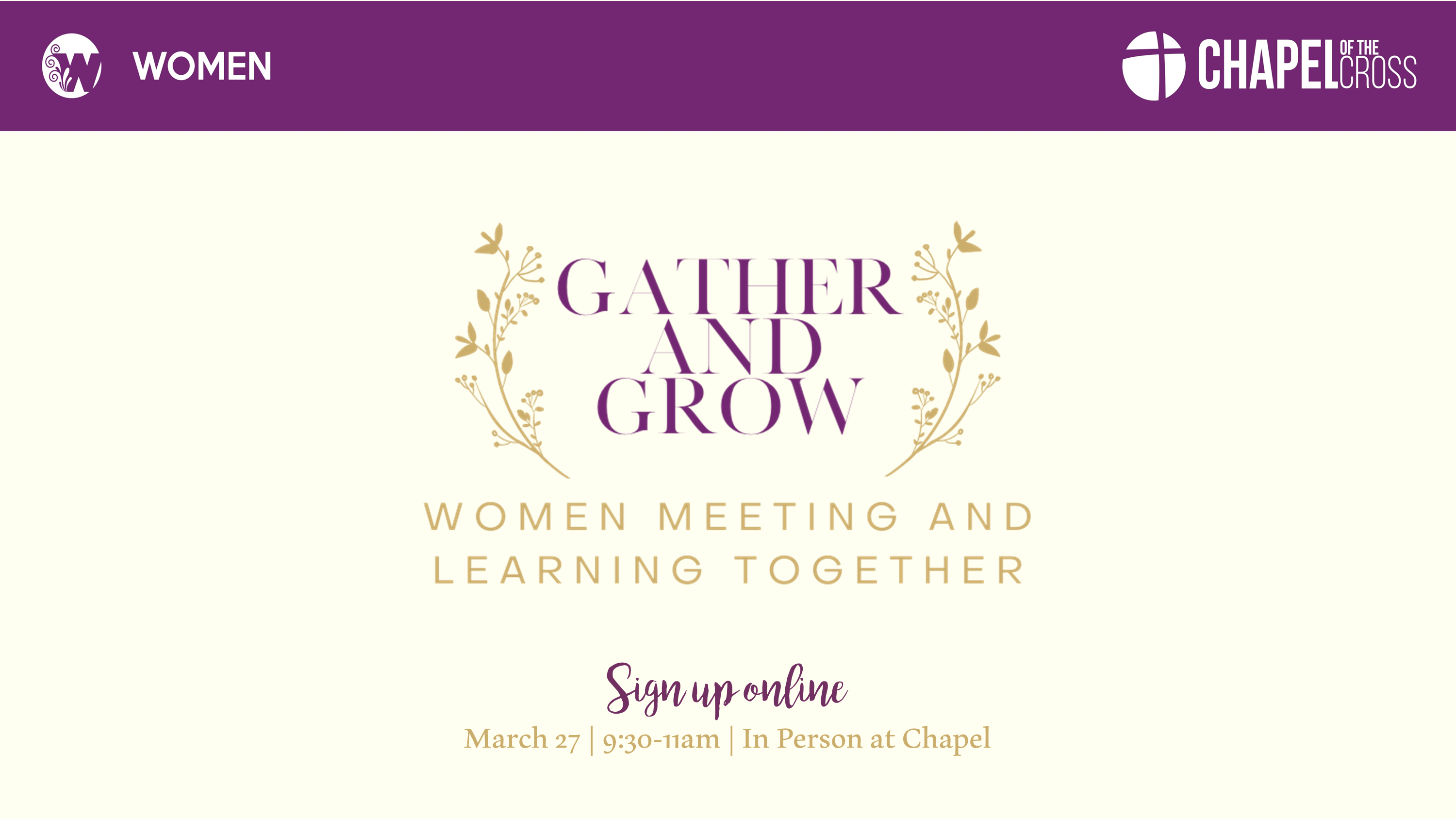 Gather and Grow March 27 Announcement Cream Background