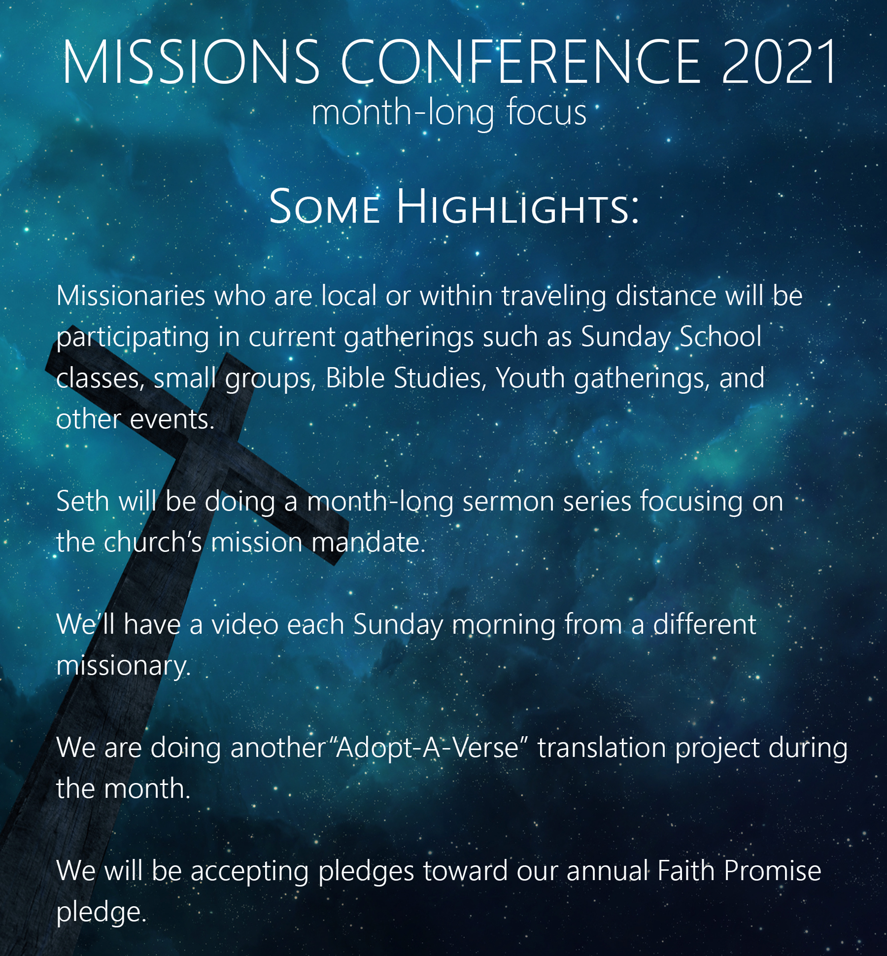 missions llist highlights