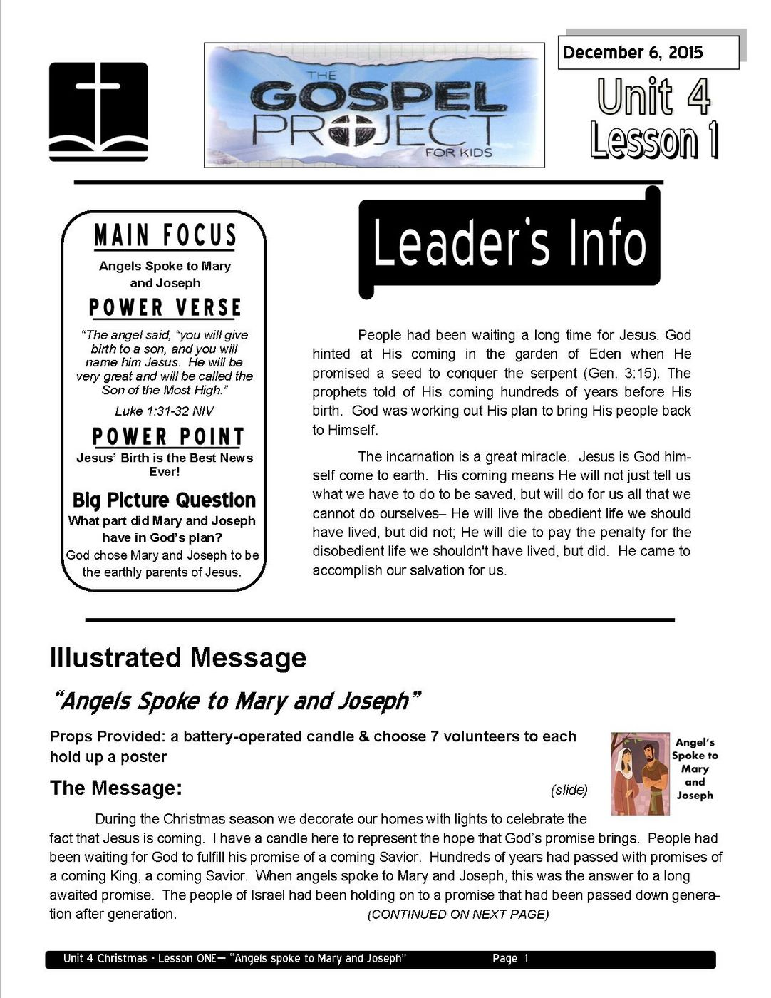 Lead teacher L1 - Angels Spoke to Mary and Joseph page 1
