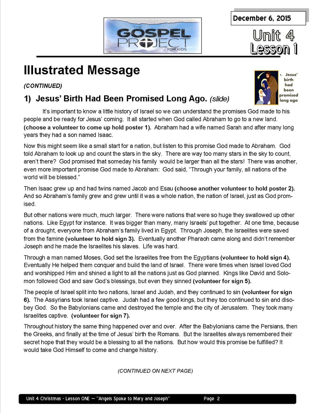 Lead teacher L1 - Angels Spoke to Mary and Joseph page 2
