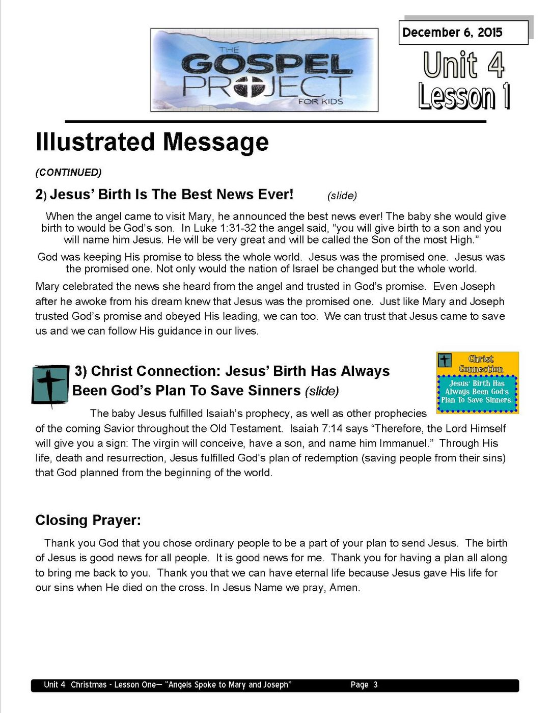 Lead teacher L1 - Angels Spoke to Mary and Joseph page 3