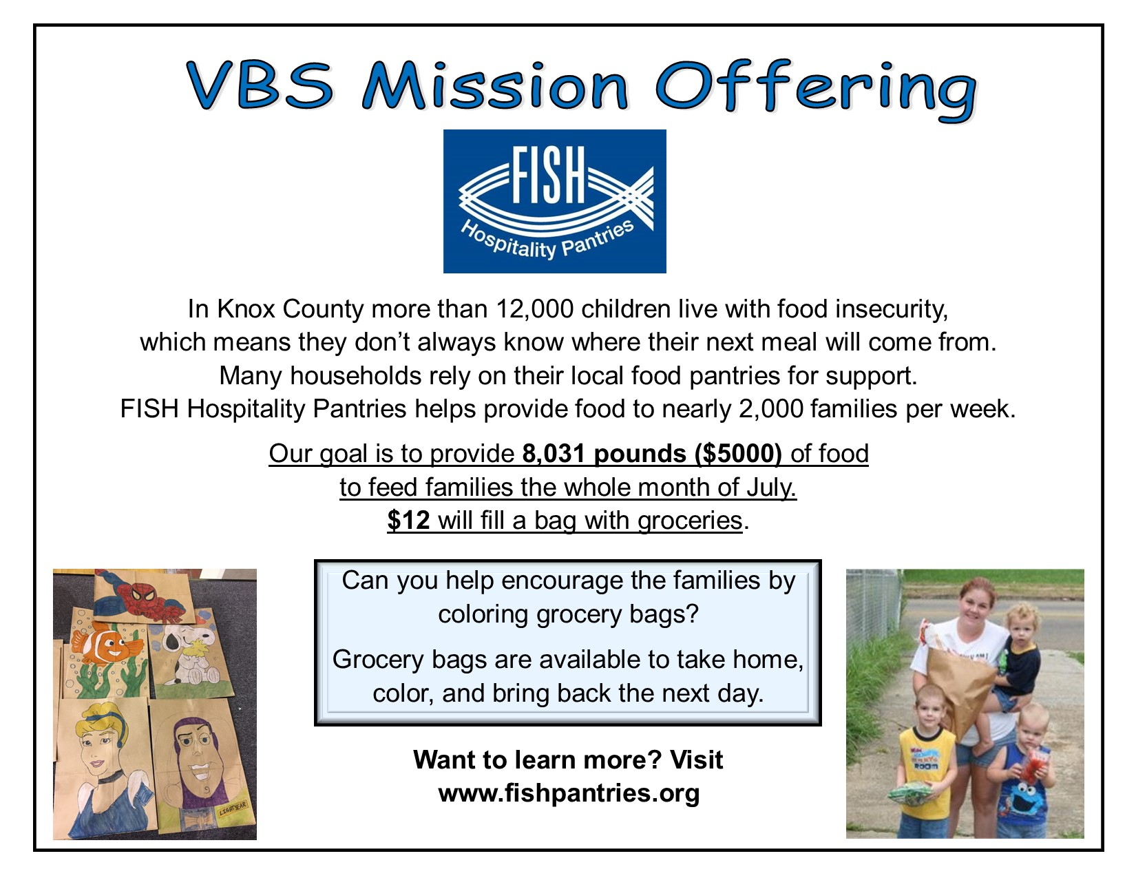 Mission offering flyer 2021 Fish food pantry
