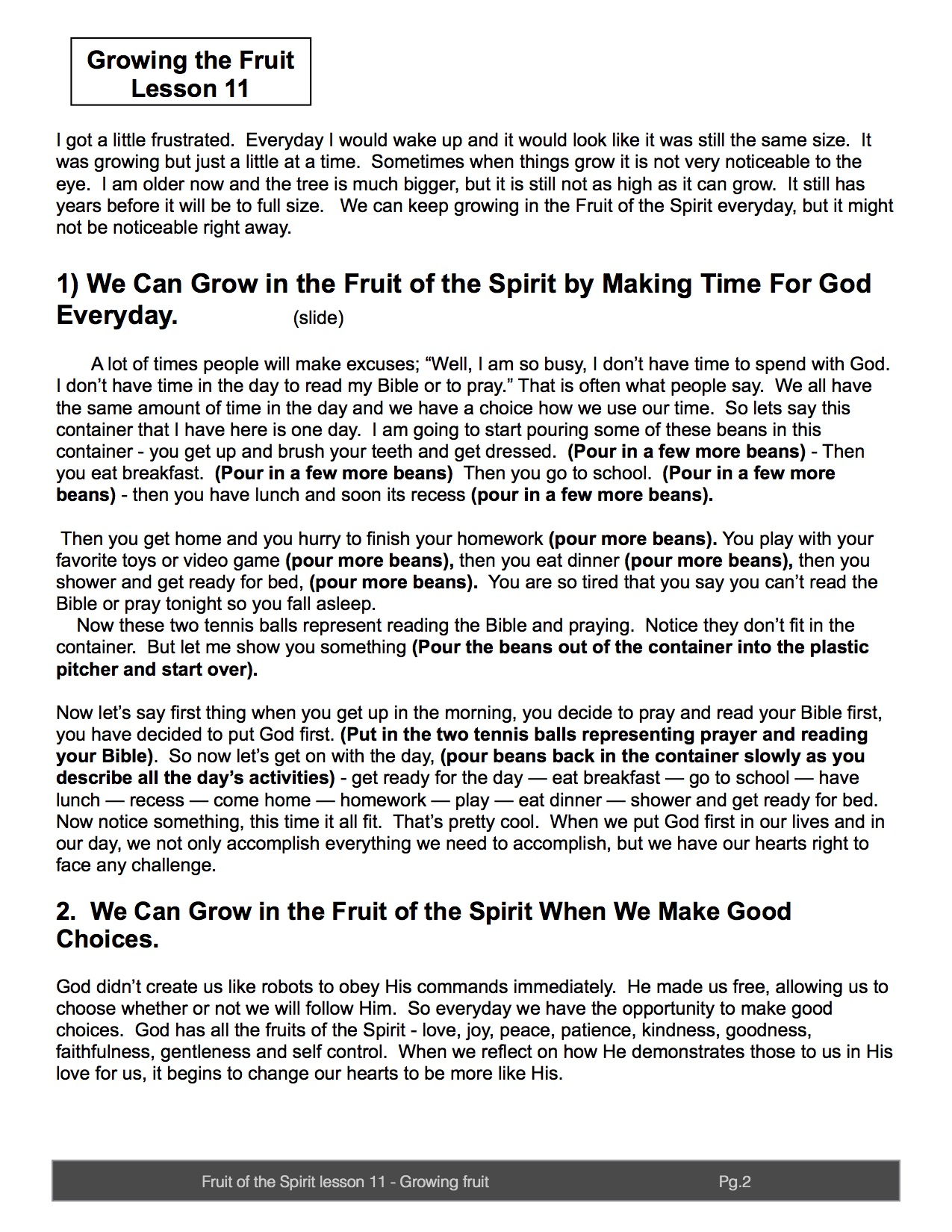 pg 2 Lesson 11 Growing in the fruit of the Spirit lead teacher lesson