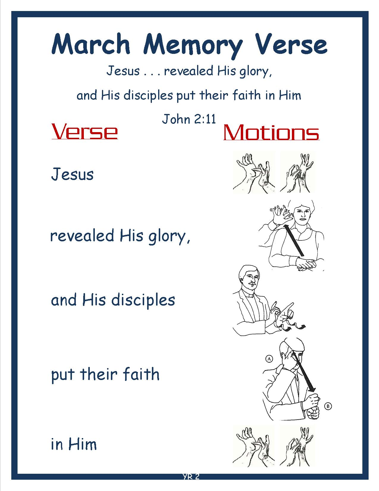 Spring Monthly Memory Verse-MARCH EASTER IN APRIL John 2.11 w Motions