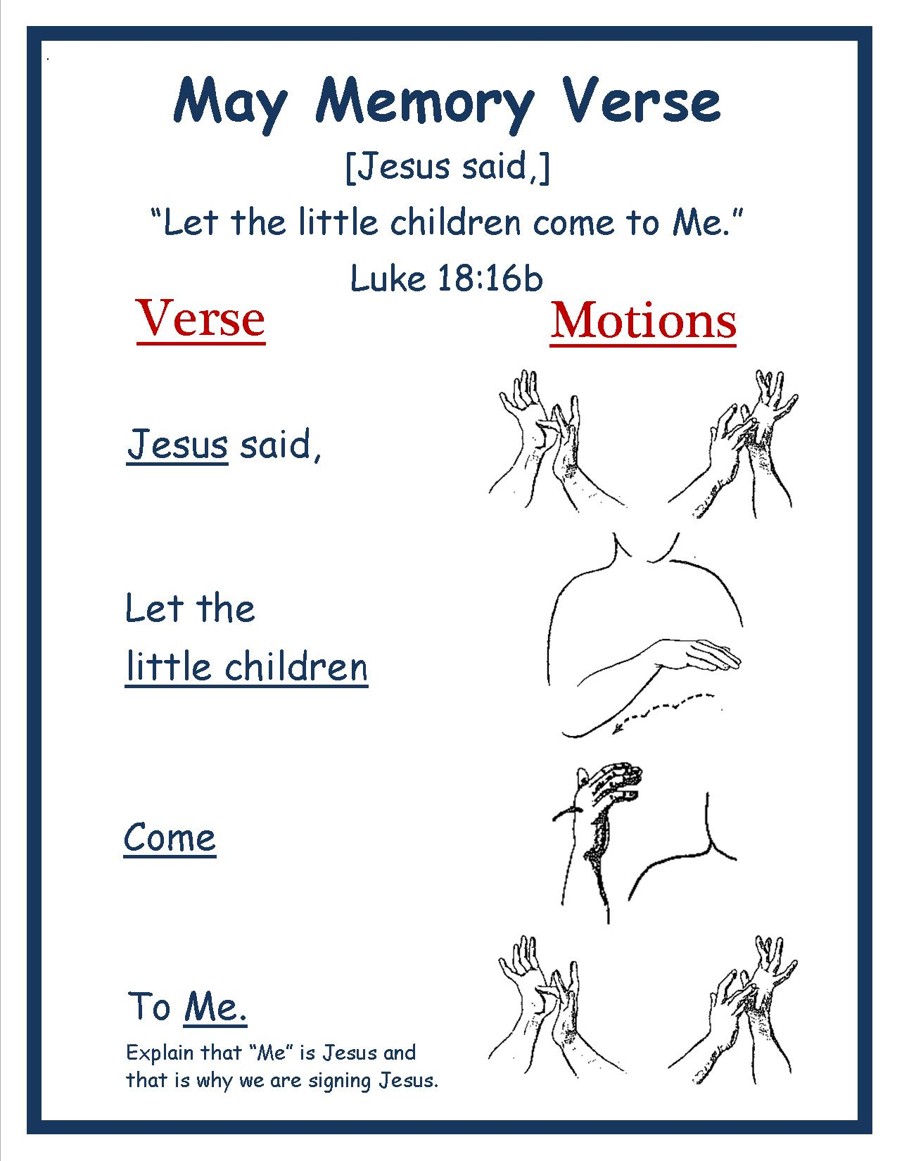 Spring Monthly Memory Verse-MAY 2016 Luke 18.16b w Motions Rm