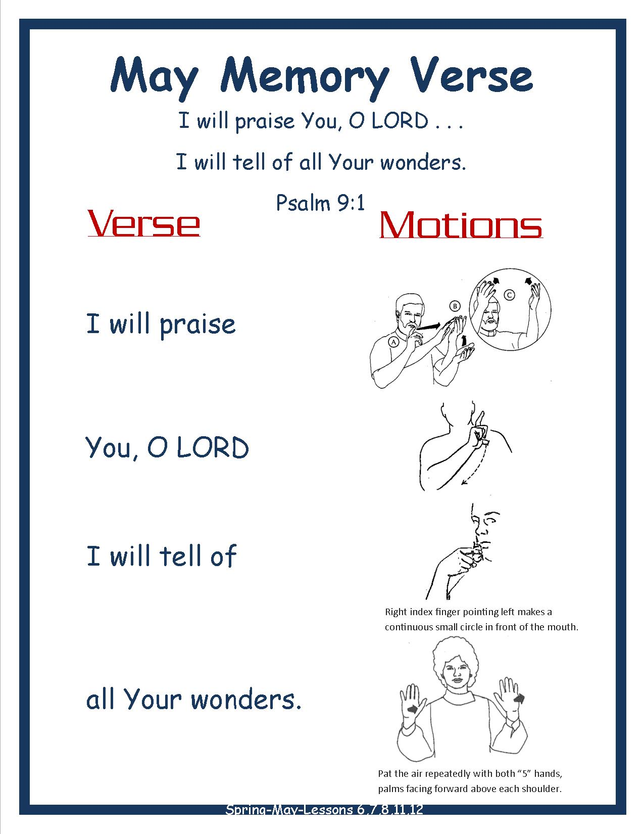Spring Monthly Memory Verse-MAY Psalm 9.1 for doors w Motions for room