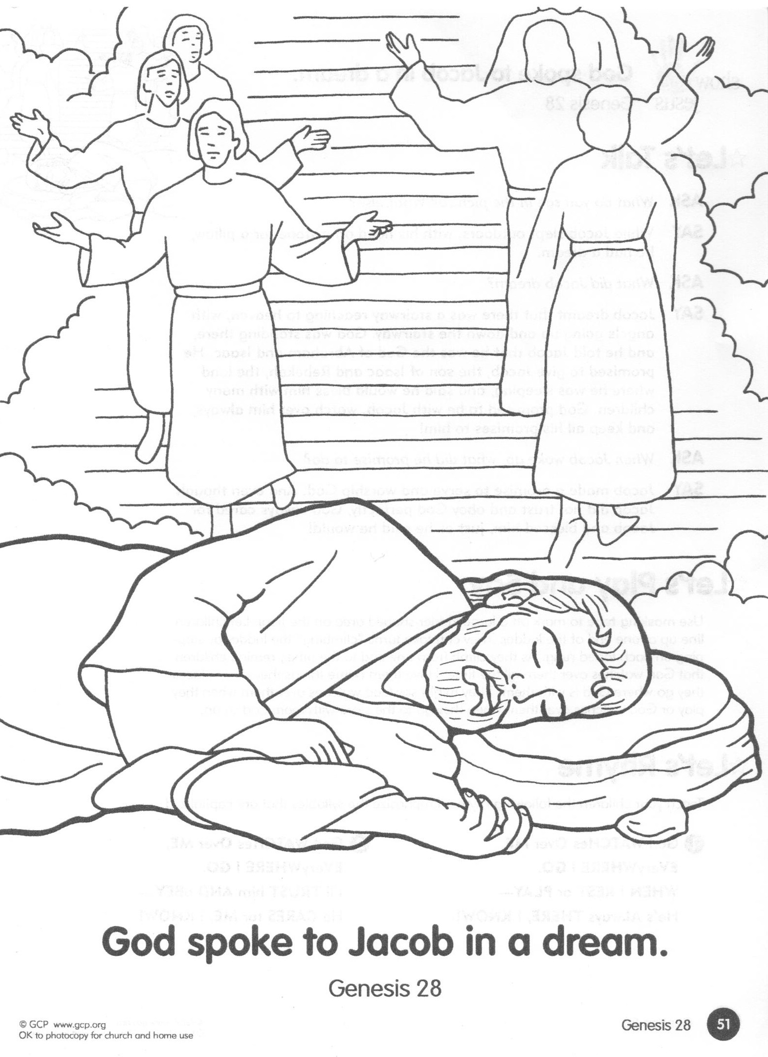 Coloring Page Summer YR 1 L 6 God Speaks to Jacob