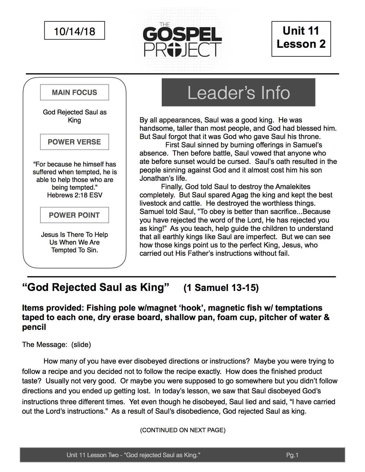 U11 L2 God Rejected Saul as King pg1  Lead Lesson (1)