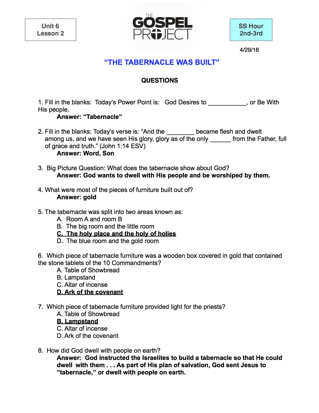 U6 L2 2nd-3rd Questions The Tabernacle