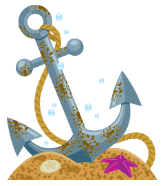 Anchor on sea floor