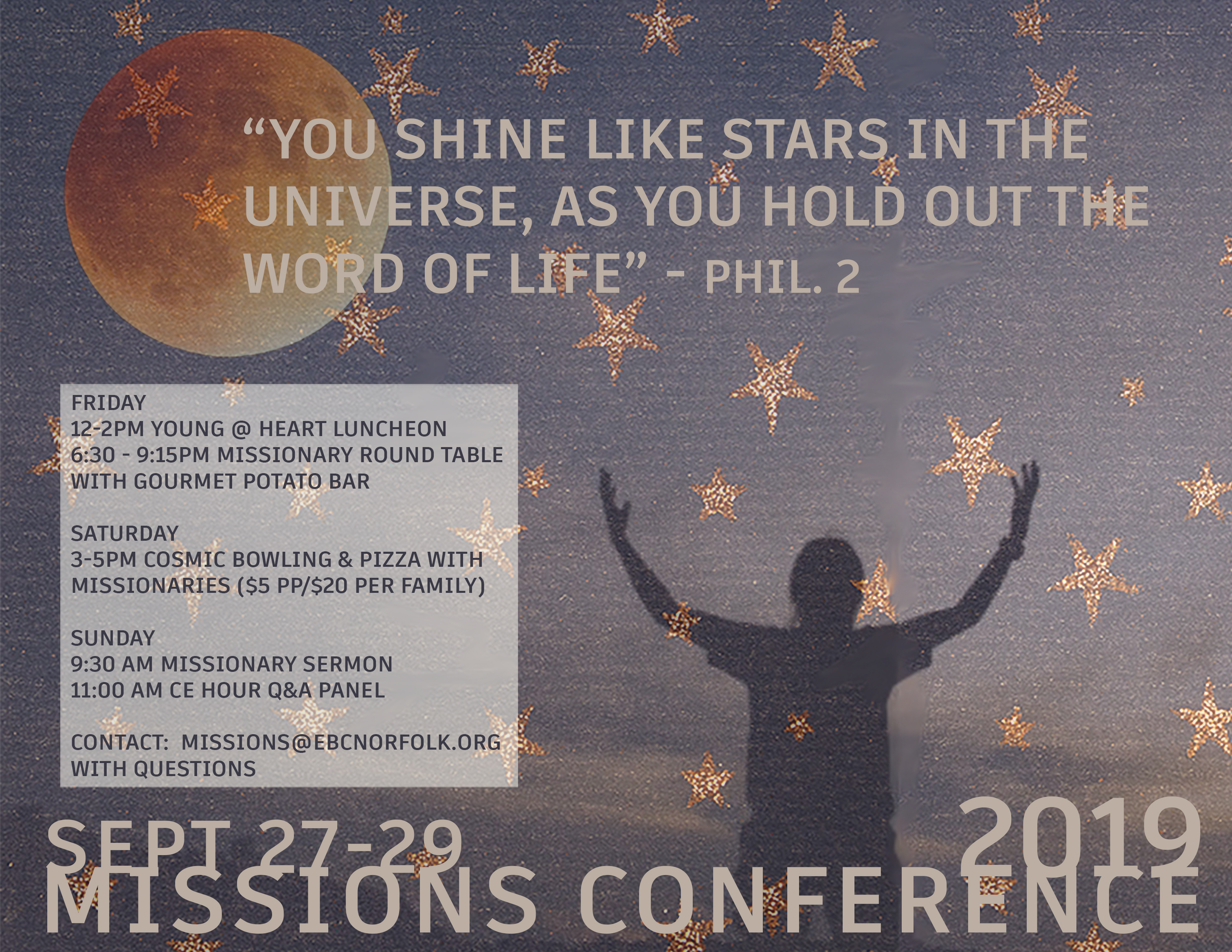 Missions Conference Flyer (Sept 27-29, 2019) image