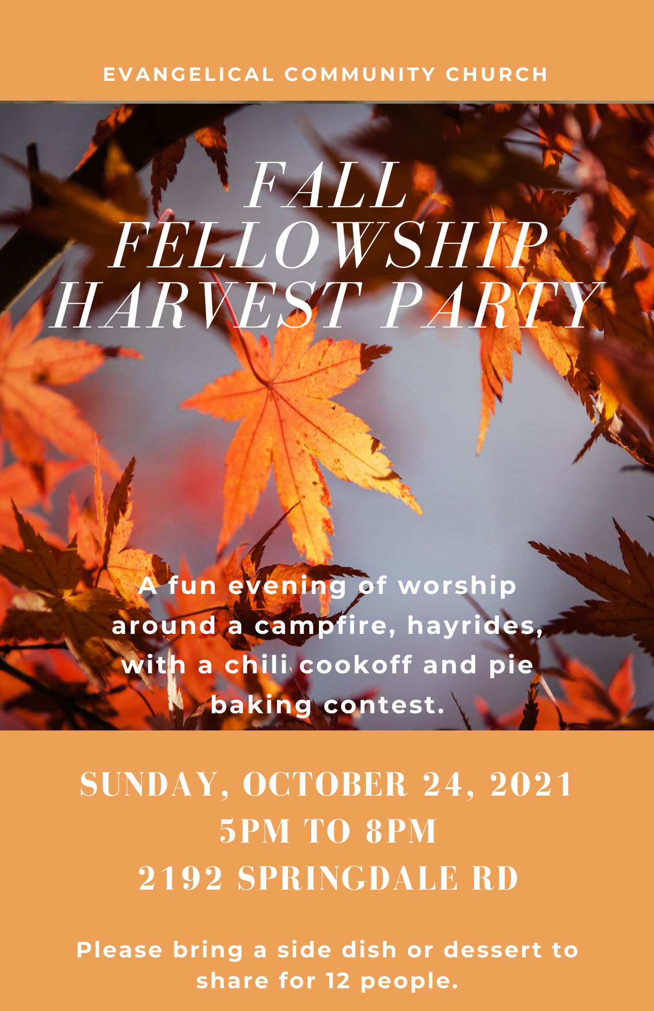 10.24.21 Fall Fellowship Harvest Party flyer (bold) image