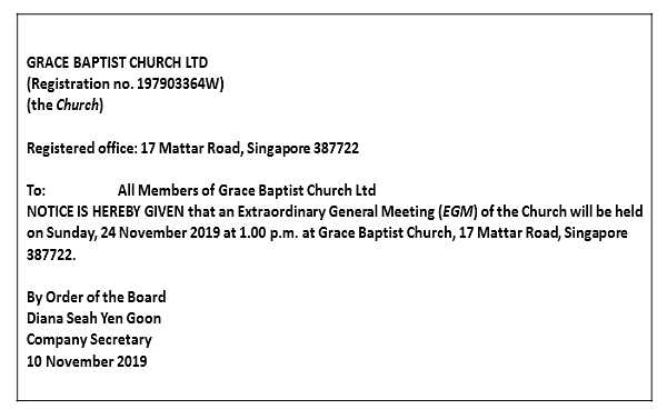 EGM Notice on 24 Nov 2019