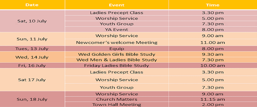 Events for 10 &11 July 2021