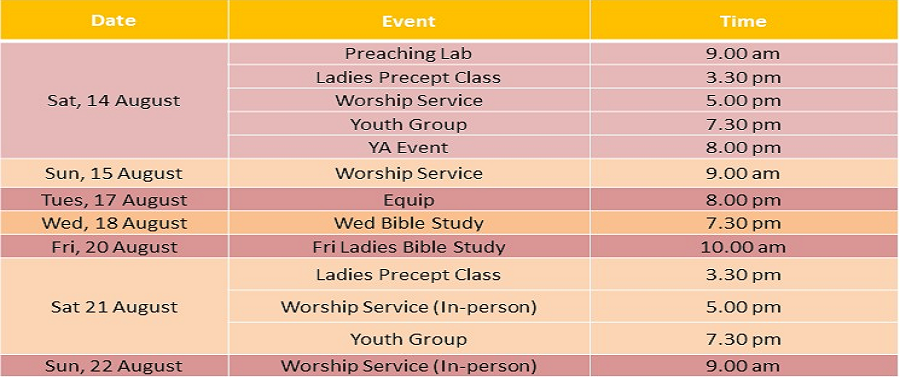 Events for 14 & 15 August 2021