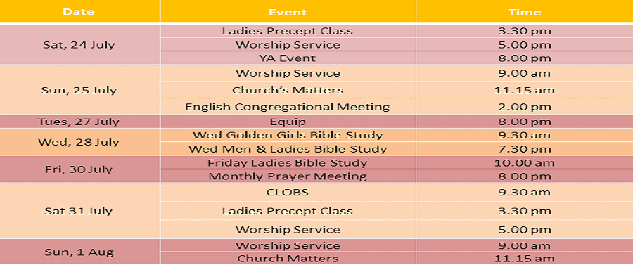 Events for 24 & 25 July 2021