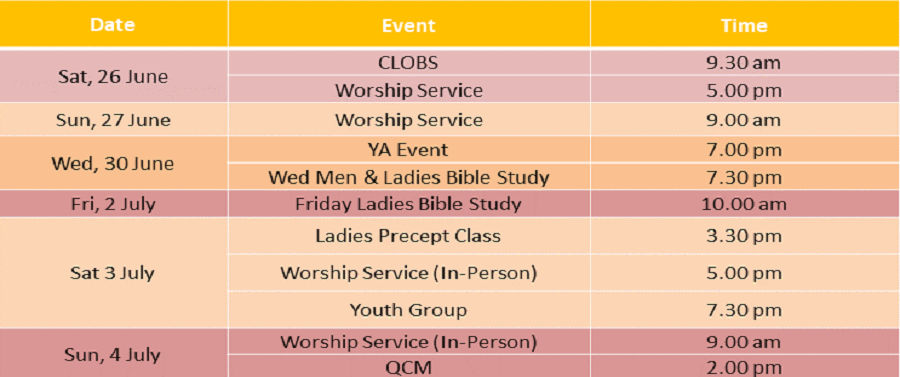 Events for 26 & 27June 2021