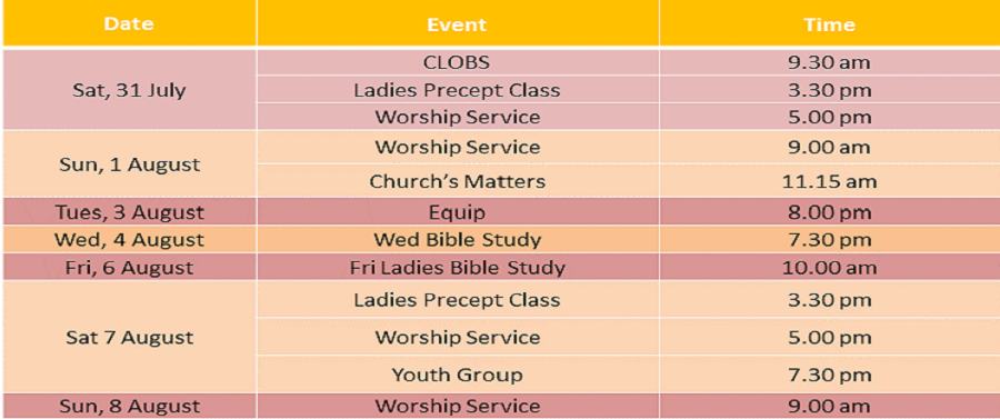 Events for 31 July & 1 August 2021
