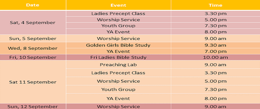 Events for 4 & 5 September 2021