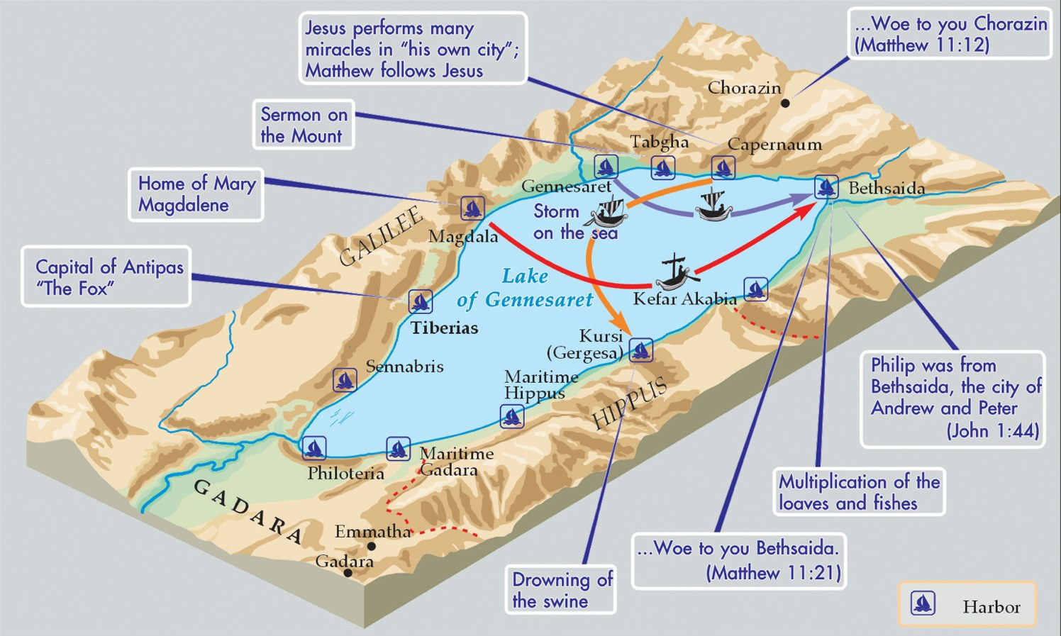 Sea of Galilee with events