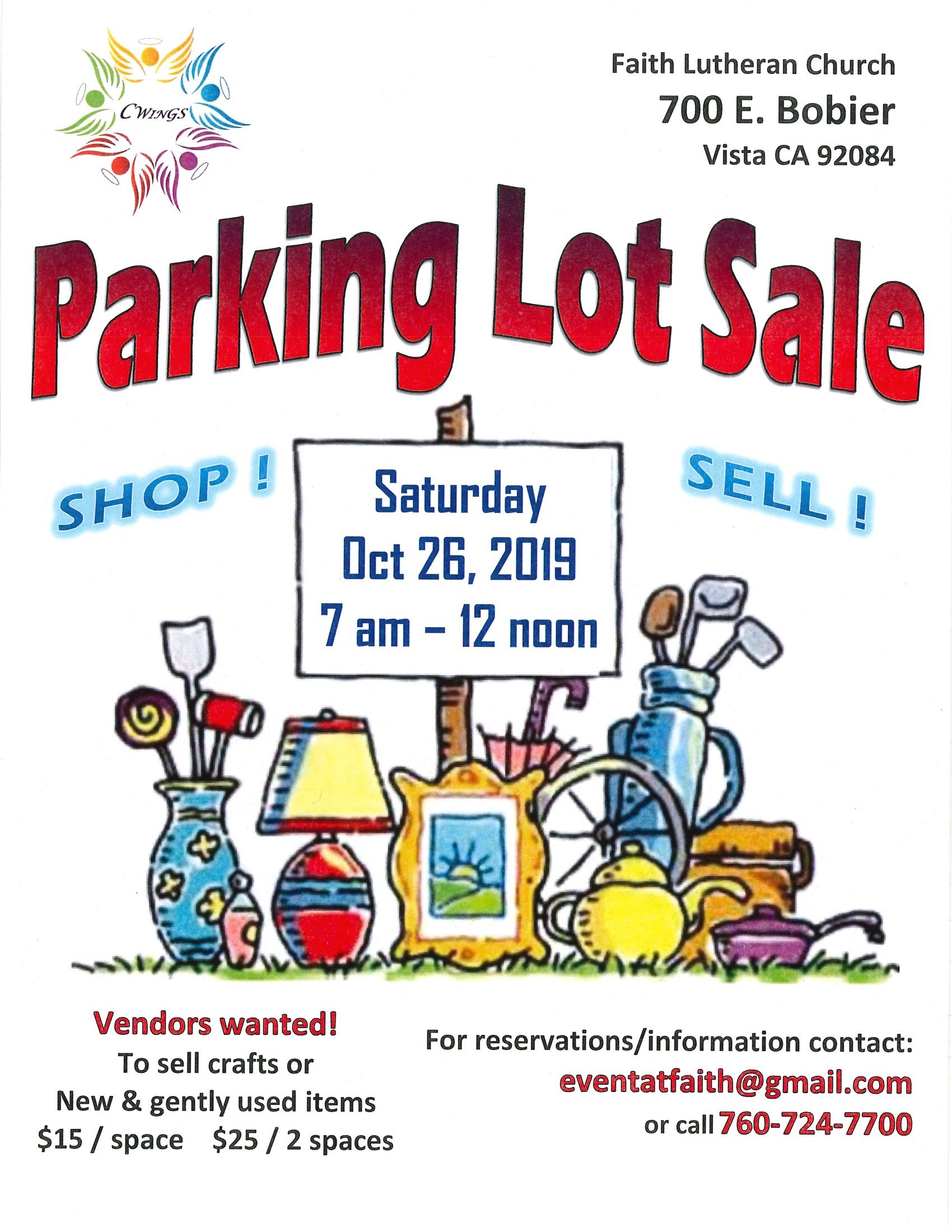 Parking Lot Sale 10-26-19
