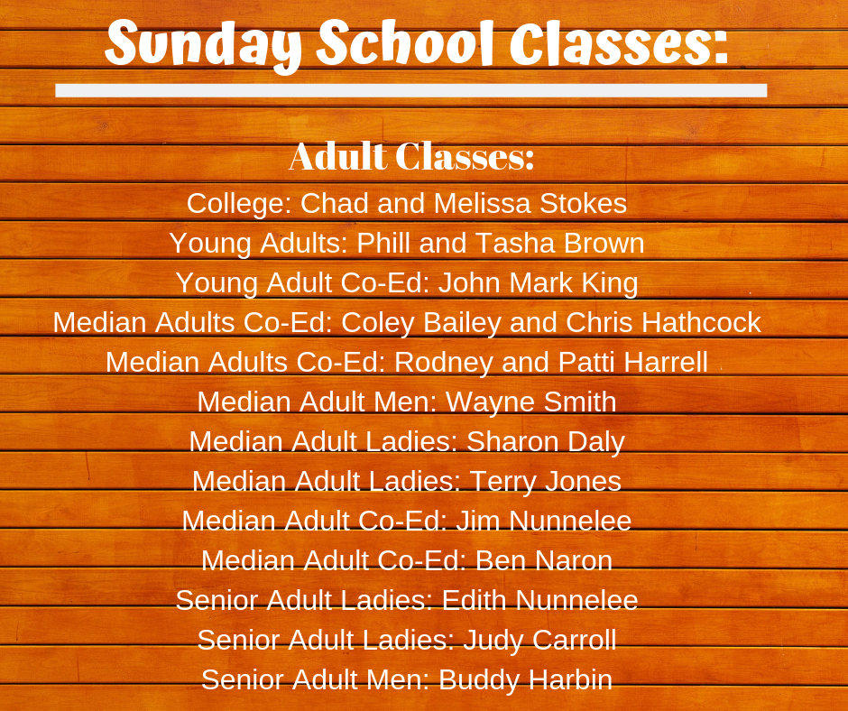 2019 Sunday School Classes Pt. 2_