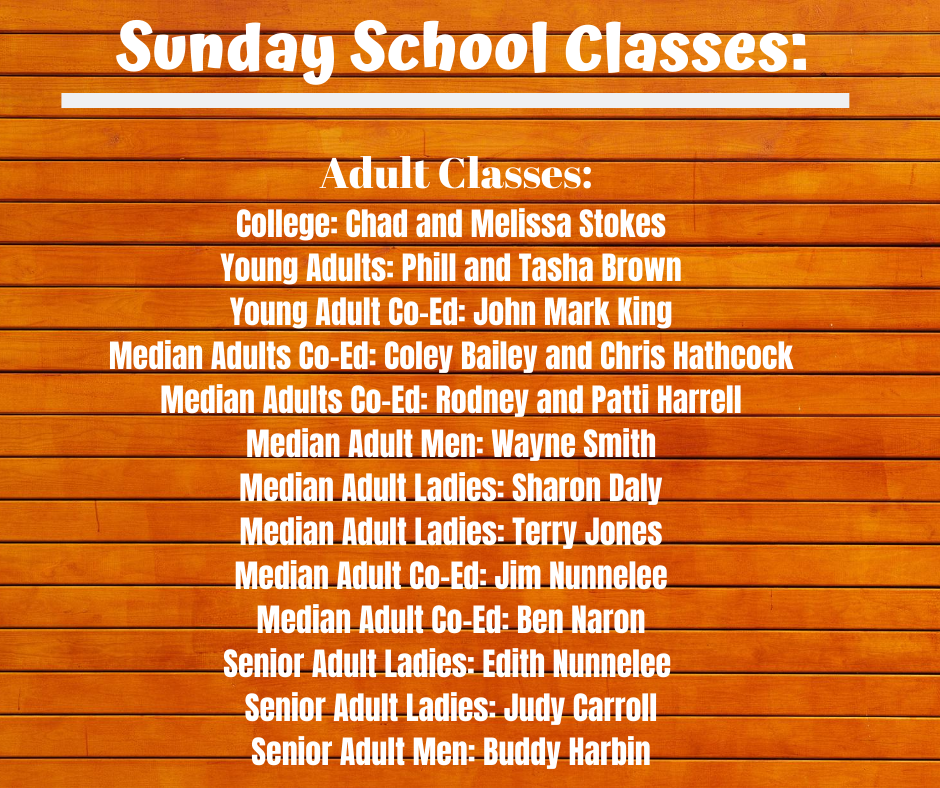 2020 Adult S.S. Classes_