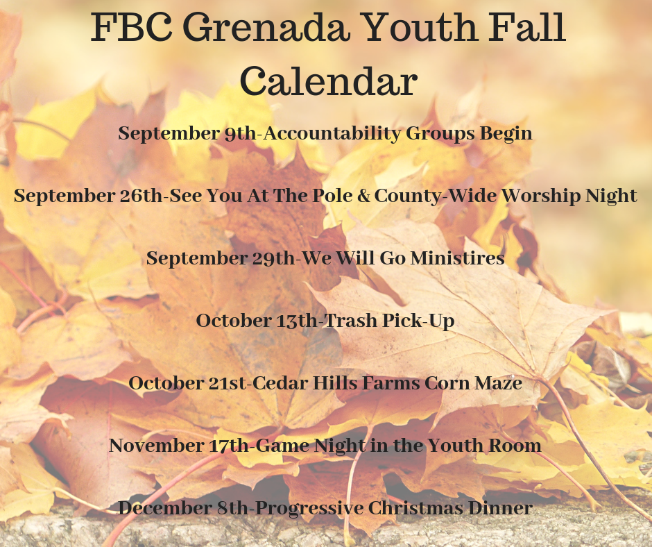 FBC Grenada Youth Fall Calendar