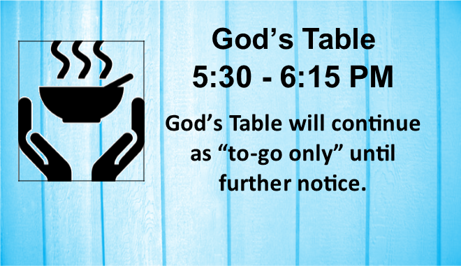 God's Table rotator to go only 2020