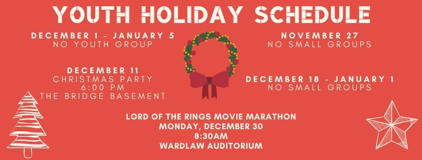 Youth Holiday Schedule