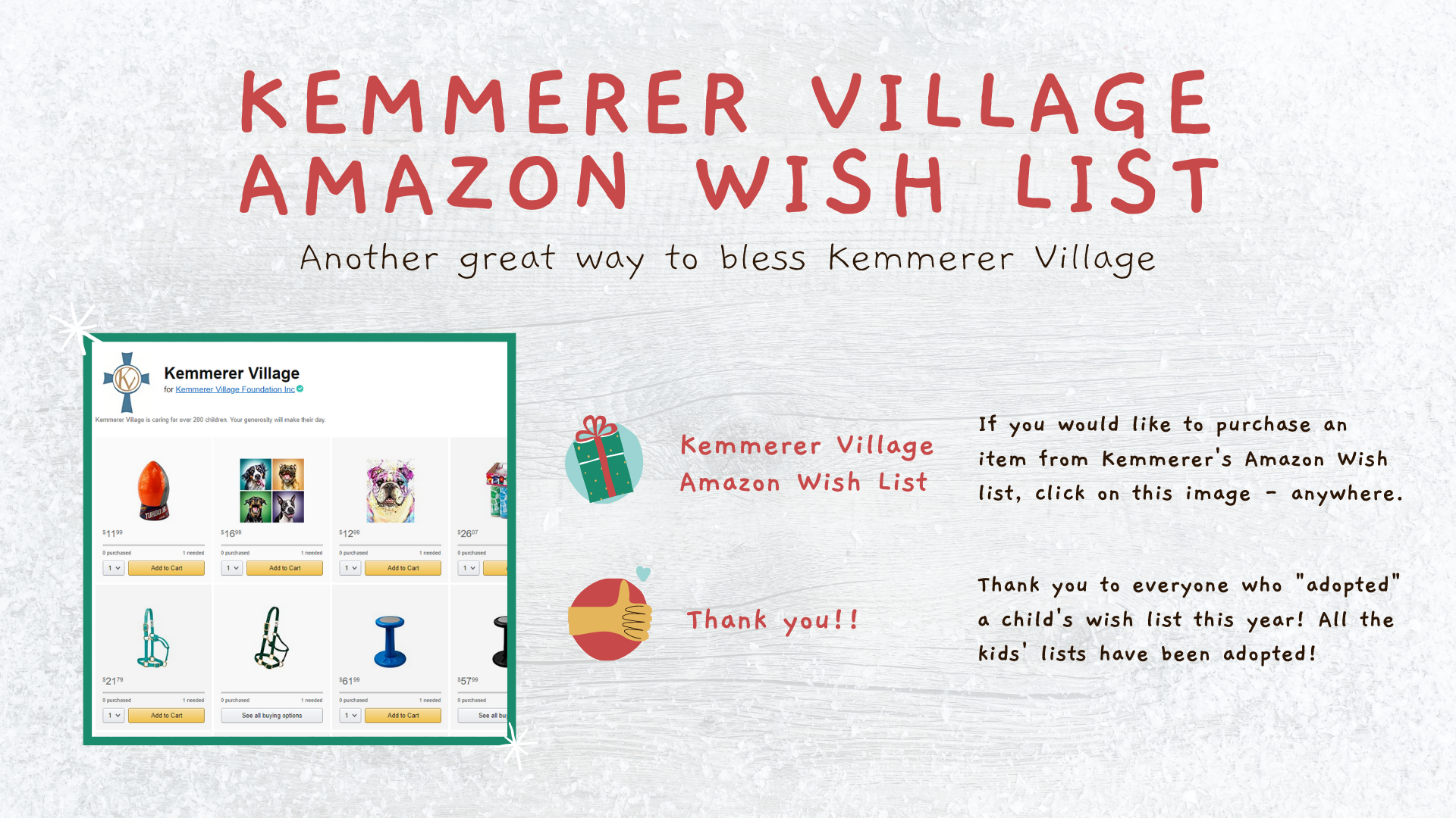KEmmerer Village amazon wishlist