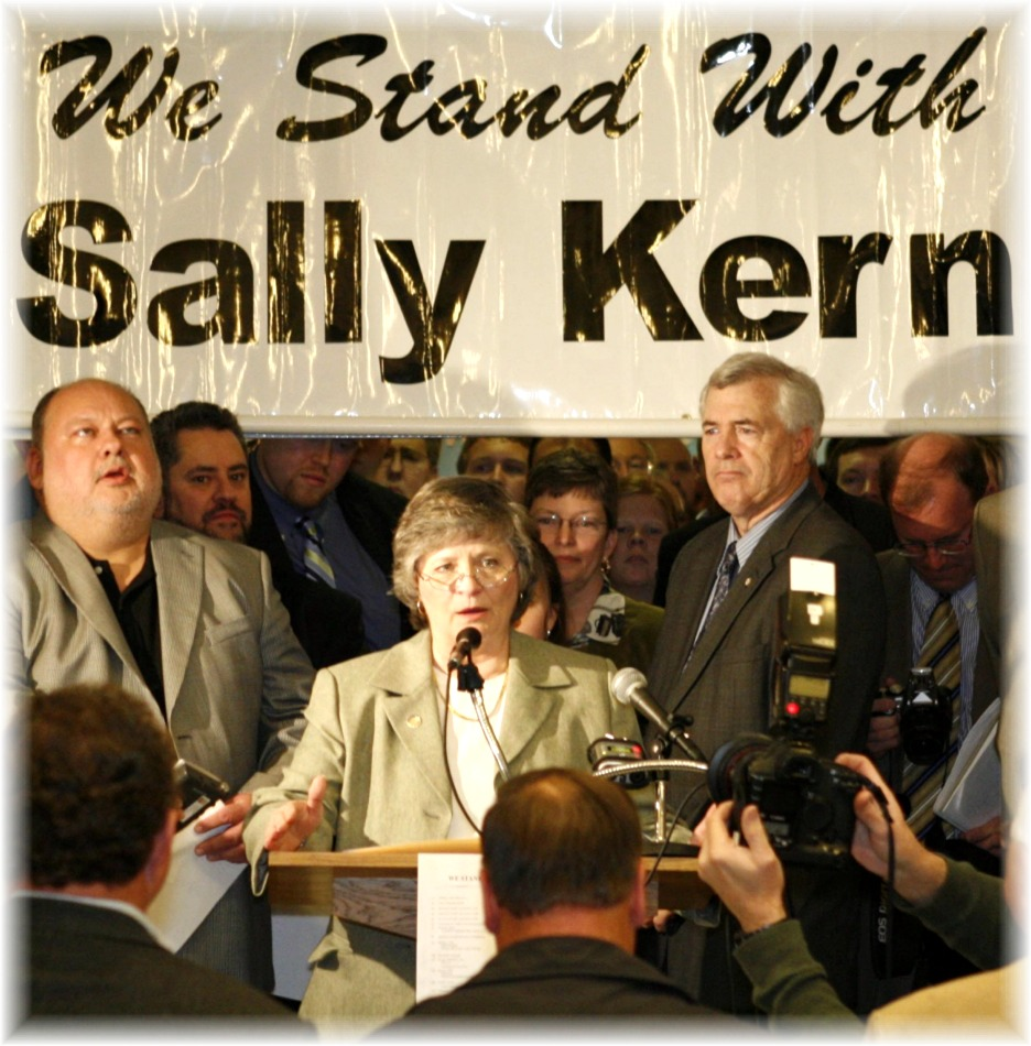 Sally Kern wept as she delivered her speech at the Oklahoma Capitol, April 2, 2008.