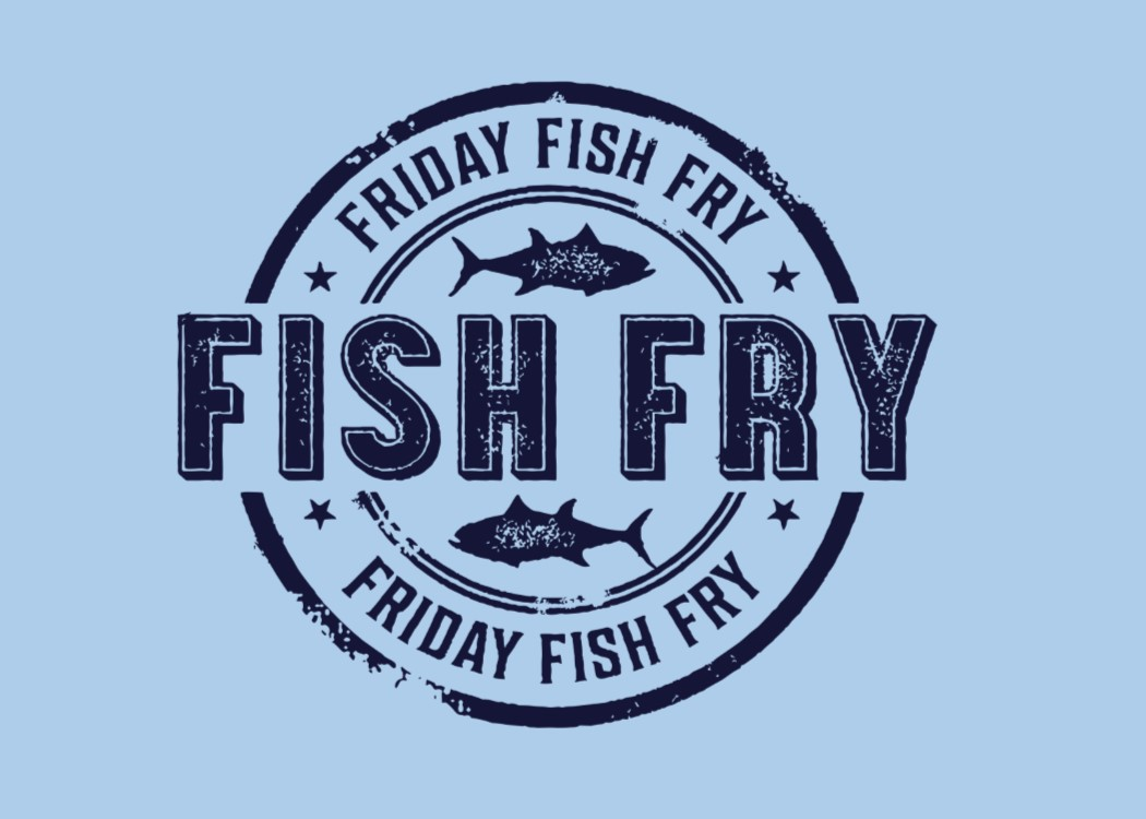 Fish fry logo blue background