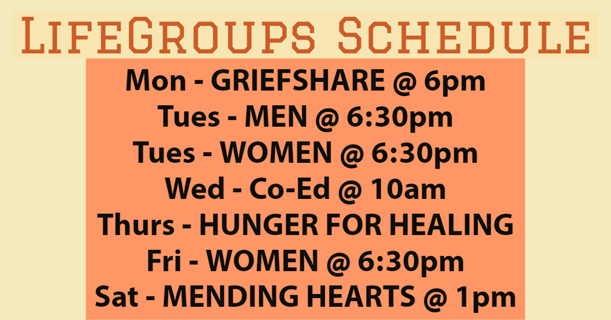 LifeGroups Schedule