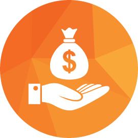 Hand Dollar Icon Orange
