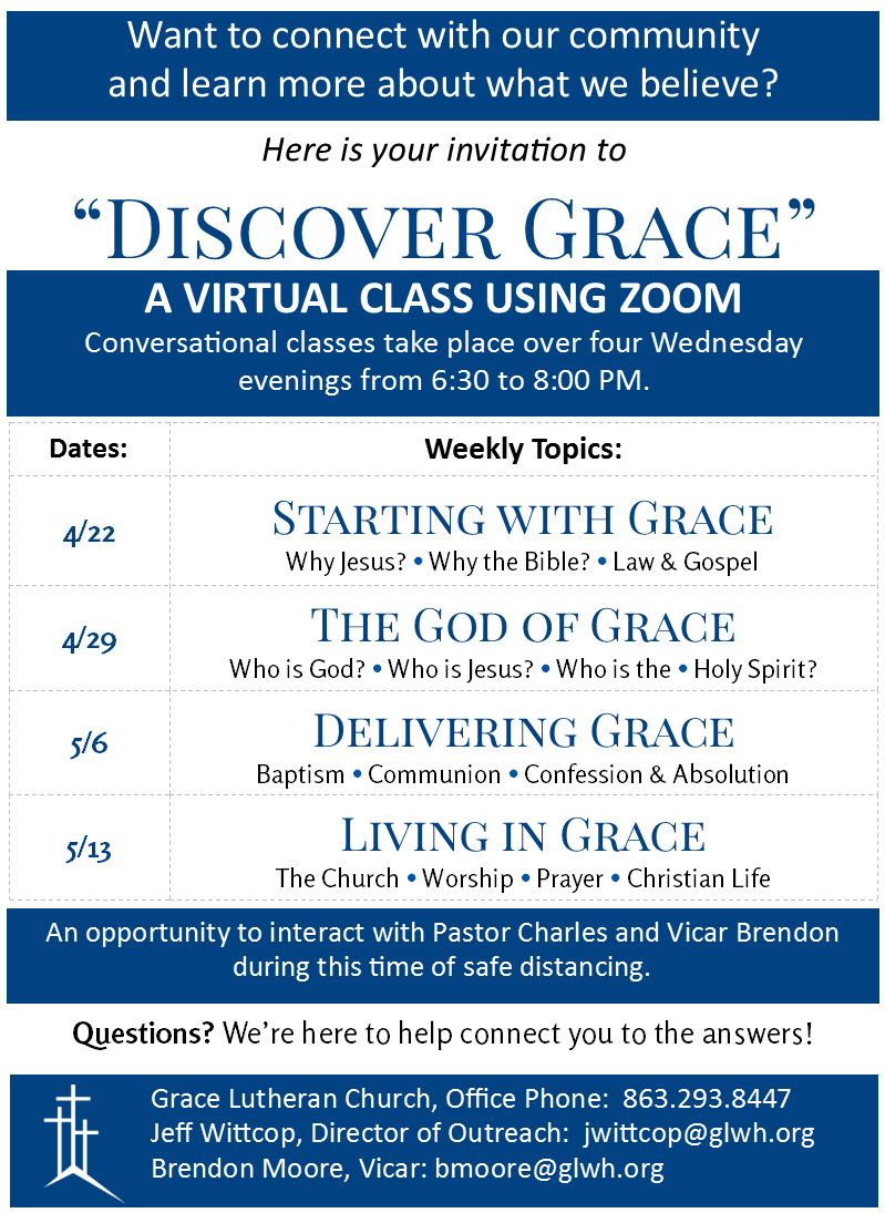 Discover Grace 2020 - Zoom