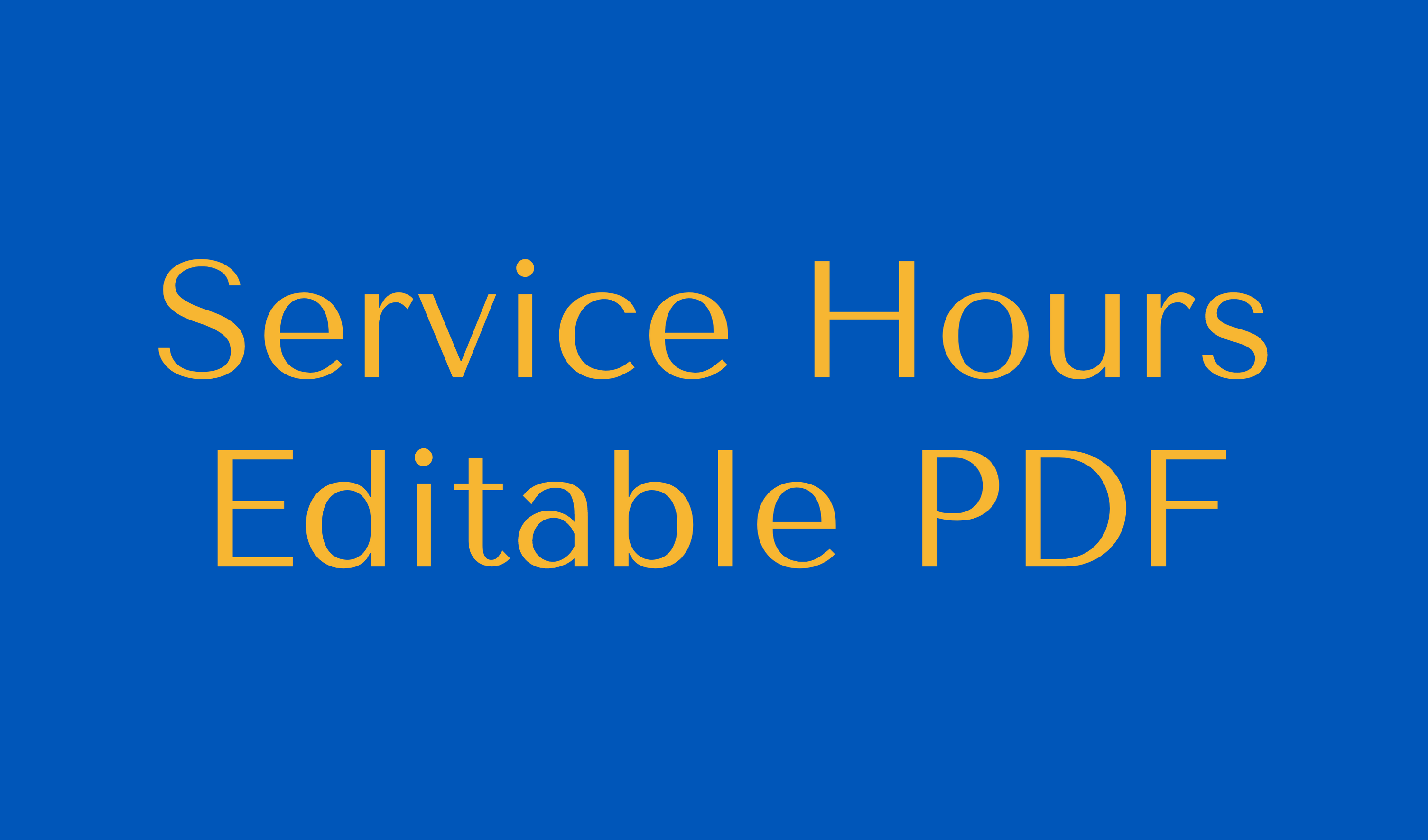Service Hours Editable PDF Button