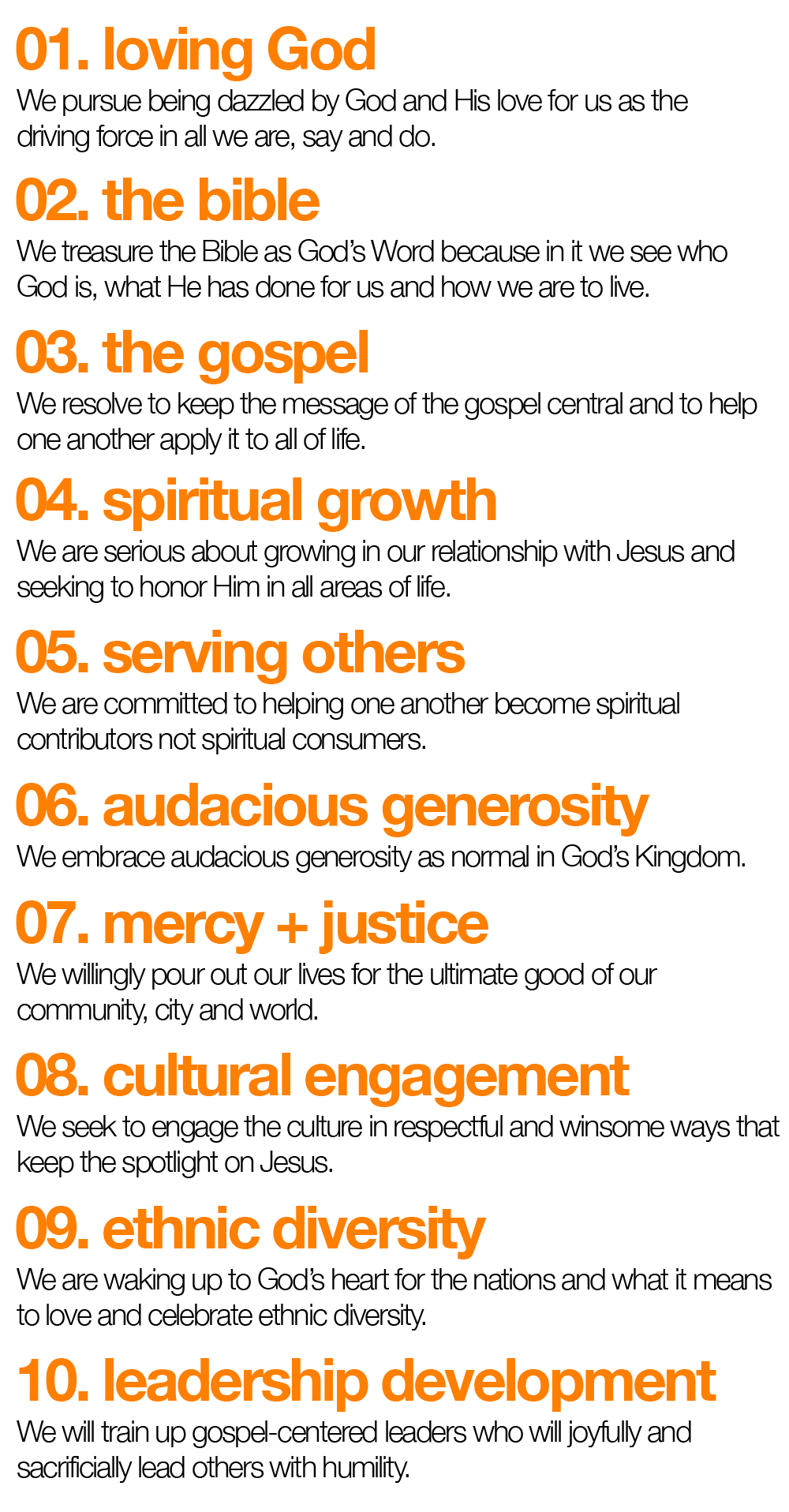 our values_body text