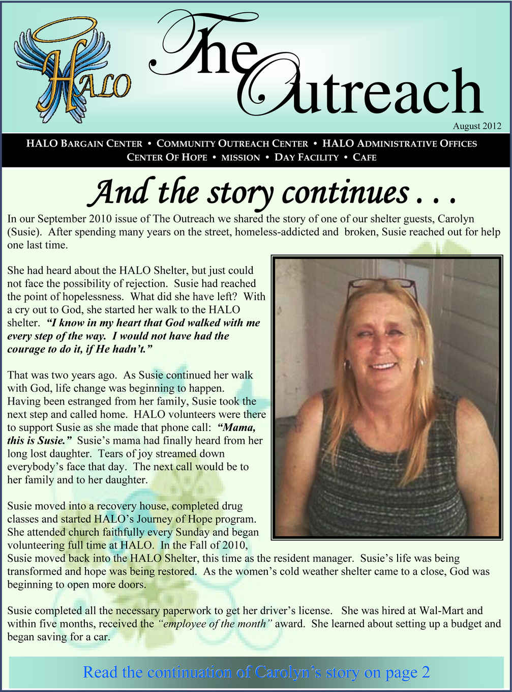 2012 Summer Newsletter Front Page