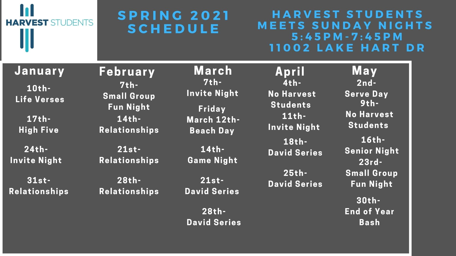 Harvest Students Spring Schedule (2)