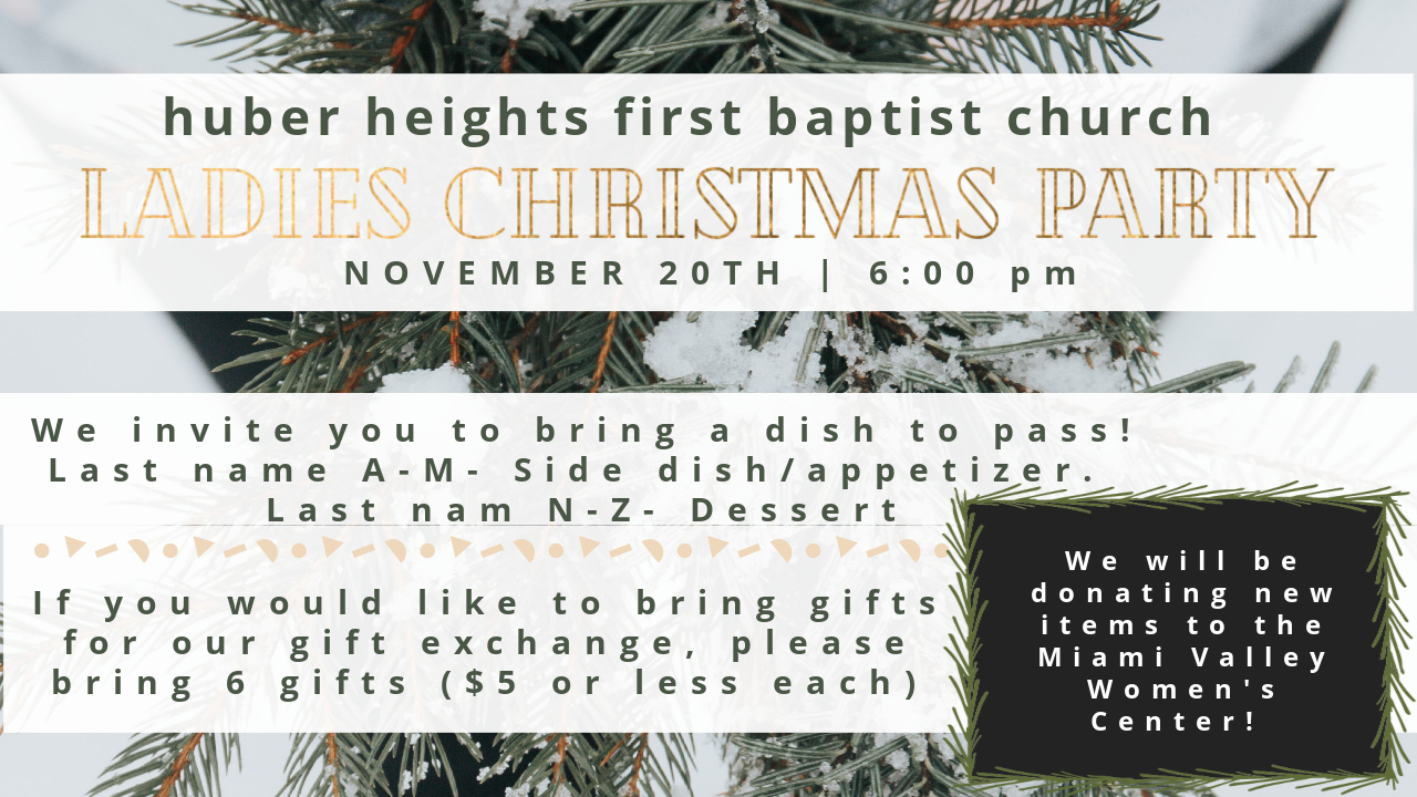 2020 Women's Ministry Christmas Party Invite