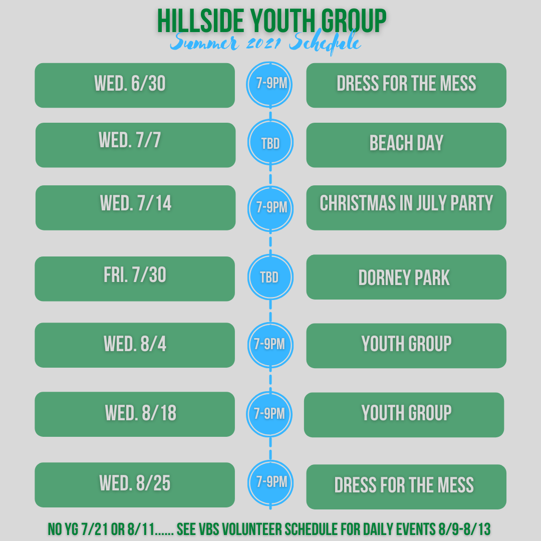 Youth Group Summer 2021 Schedule image